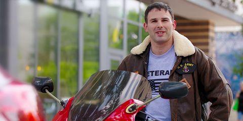 Motor vehicle, Vehicle, Motorcycle, Jacket, Smile, Scooter,