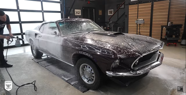 1970 mustang mach 1 being washed in great detail
