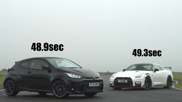 a nismo gt r is outpaced by a gr yaris