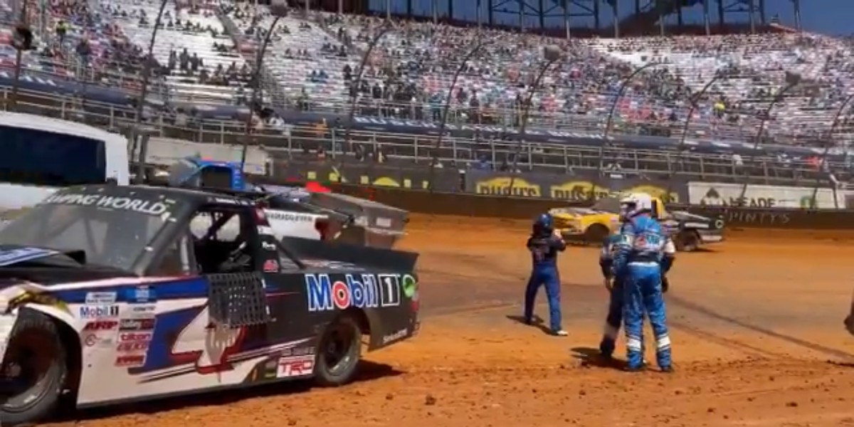 Safety Truck Hits NASCAR Race Truck Under Caution at the Bristol Dirt Race, Somehow