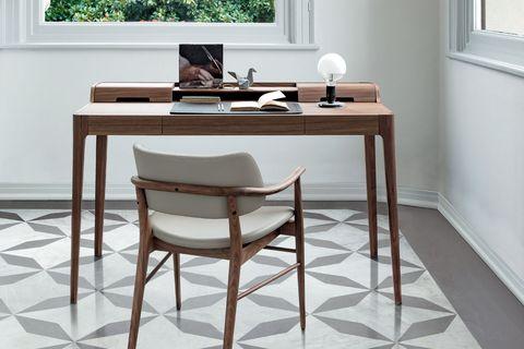 Furniture, Floor, Table, Desk, Tile, Room, Flooring, Interior design, Chair, Material property,