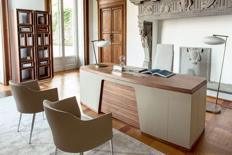 Furniture, Room, Property, Interior design, Table, Floor, Desk, Building, Living room, Cabinetry,