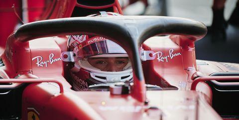 Scuderia Ferraris Monegasque driver Charles Leclerc sits...