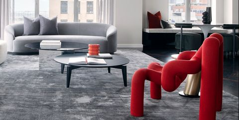 Living room, Furniture, Room, White, Interior design, Red, Coffee table, Couch, Table, Floor,
