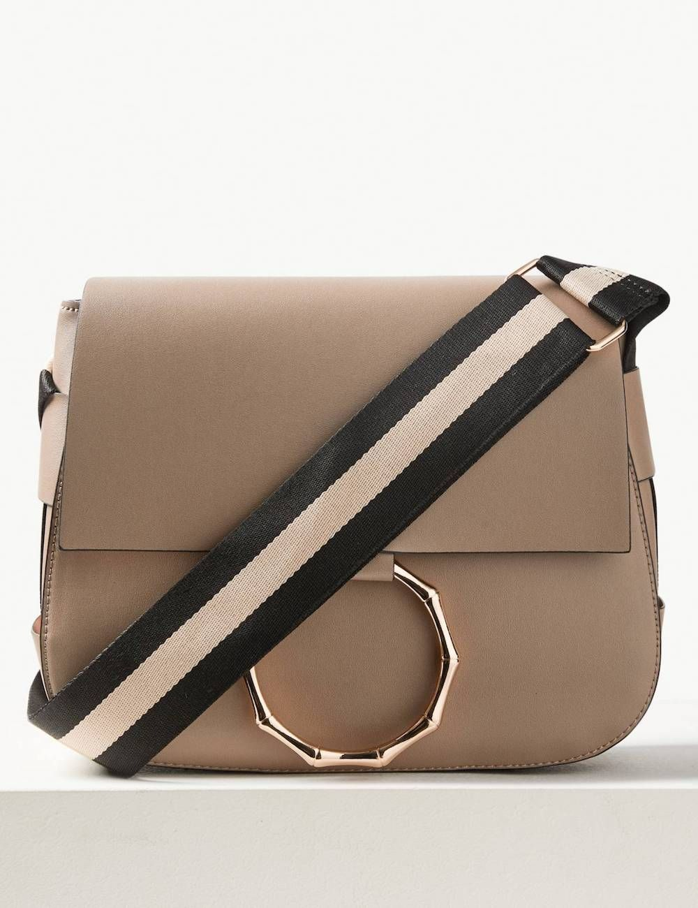 M&S Faux Leather Bamboo Saddle Cross Body Bag