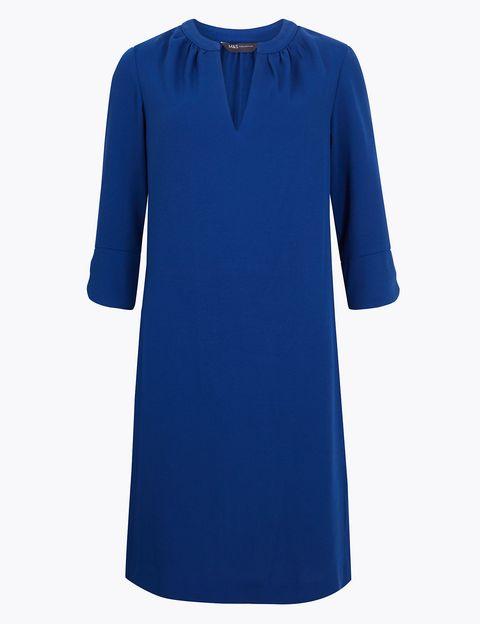 Clothing, Cobalt blue, Blue, Sleeve, Dress, Day dress, Electric blue, Neck, Outerwear, T-shirt,