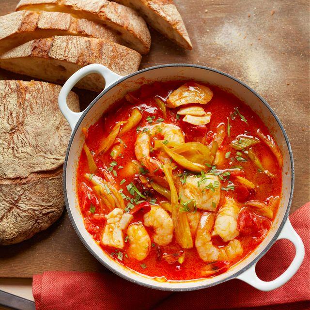 seafood, chorizo  vegetable stew