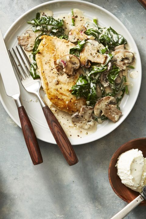 seared chicken with cheesy spinach and mushrooms