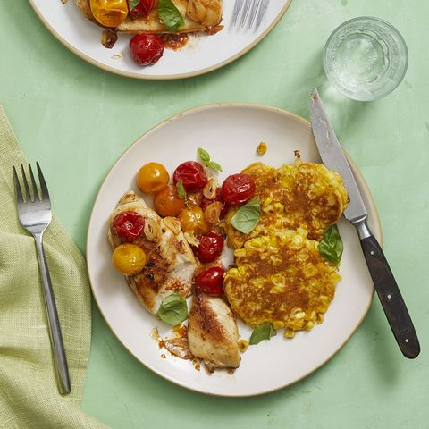 seared chicken with tomatoes and fresh corn cakes recipe
