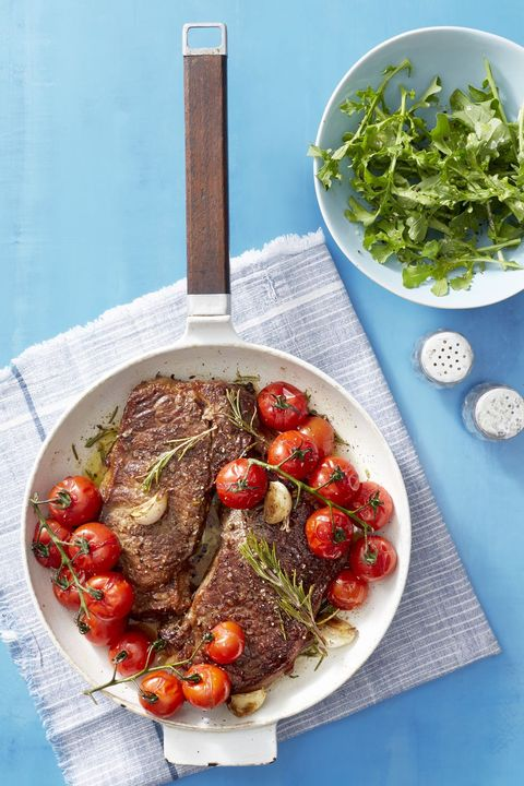 seared steak with blistered tomatoes