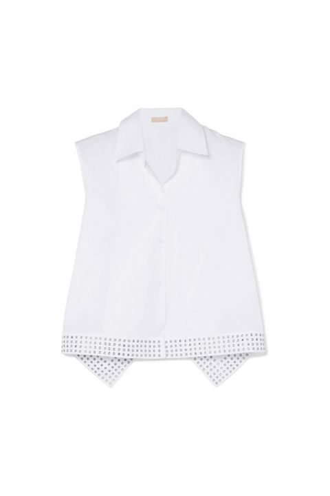 Clothing, White, Collar, Outerwear, Sleeve, Blouse, Sleeveless shirt, Button, Shirt, Neck,