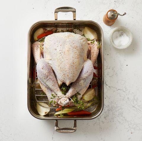 seasoned turkey in roasting pan
