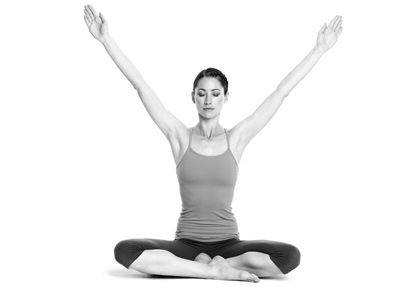 seated meditation with arms in a v