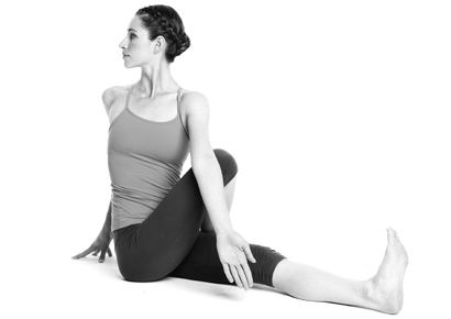 Easy seated twist yoga pose