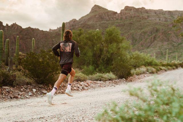 man running in desert