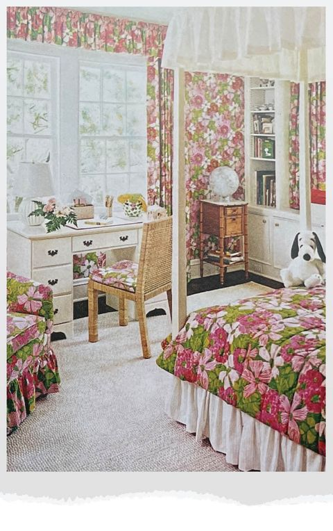girls room with snoopy on bed and floral print everywhere