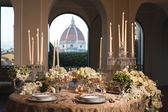 romantic dinner with a view over florence skyline