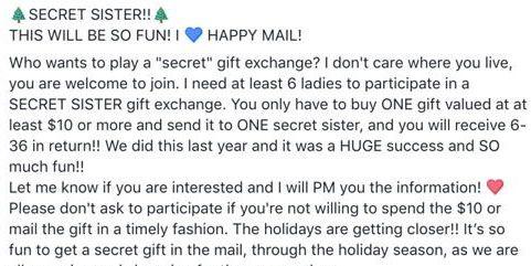 Facebook S Secret Sister Gift Exchange Is A Scam Facebook Gift Scam