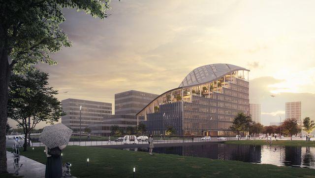 una sede de oficinas en sanghai sostenible diseñada por mvrdv