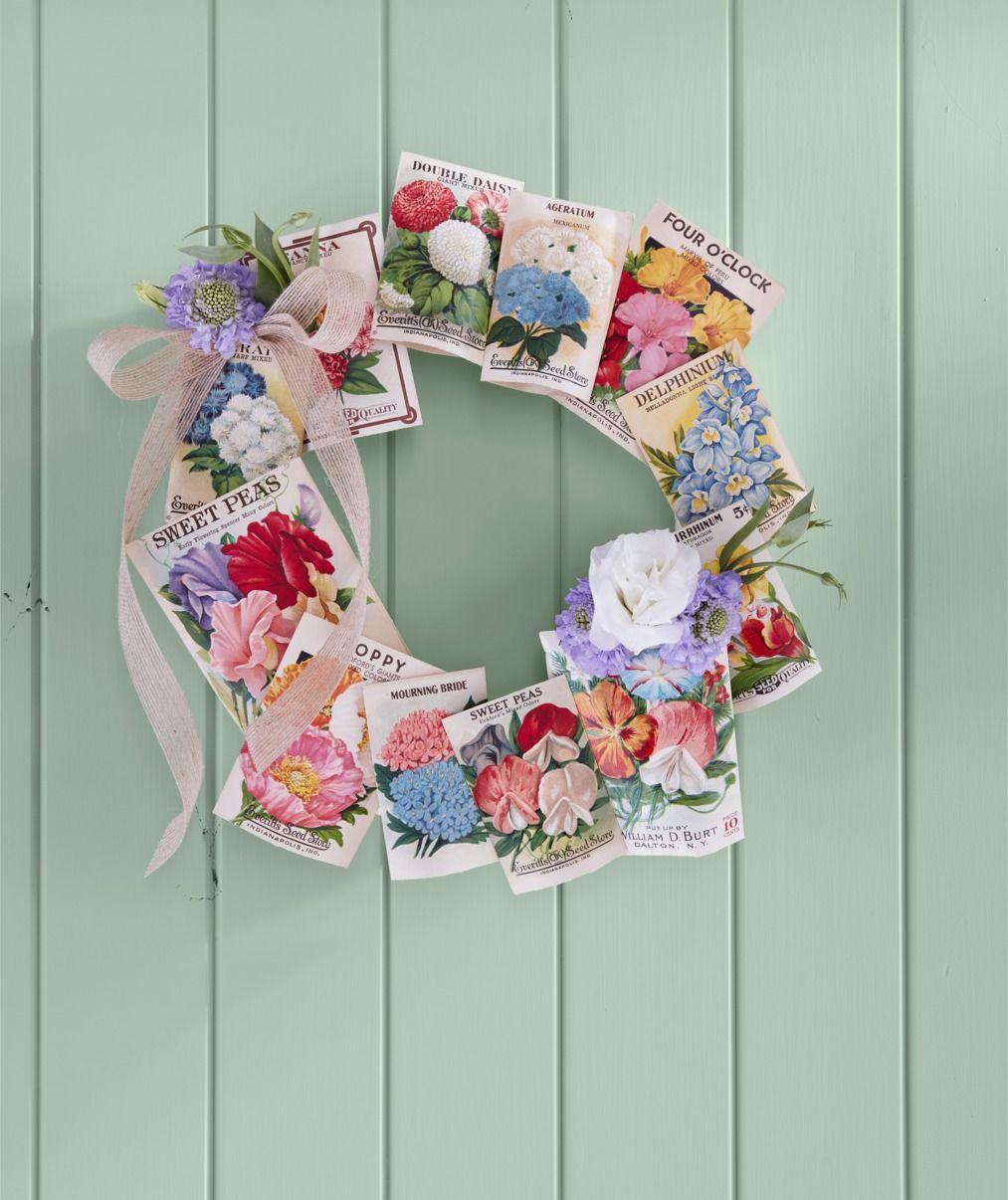 seed packet wreath summer diy craft