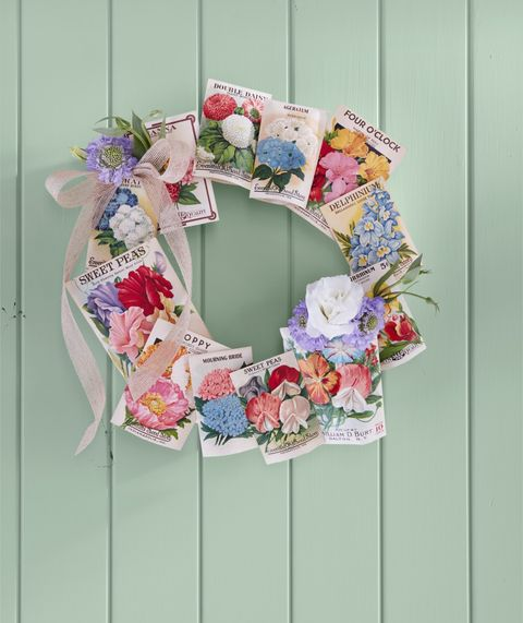 seed packet wreath summer diy craft