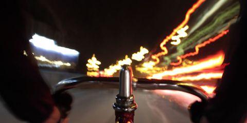 cyclist cockpit at night