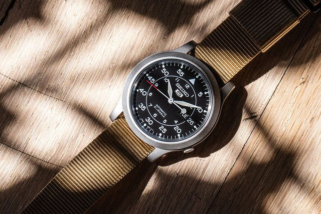 seiko snk field watch with plant shadows