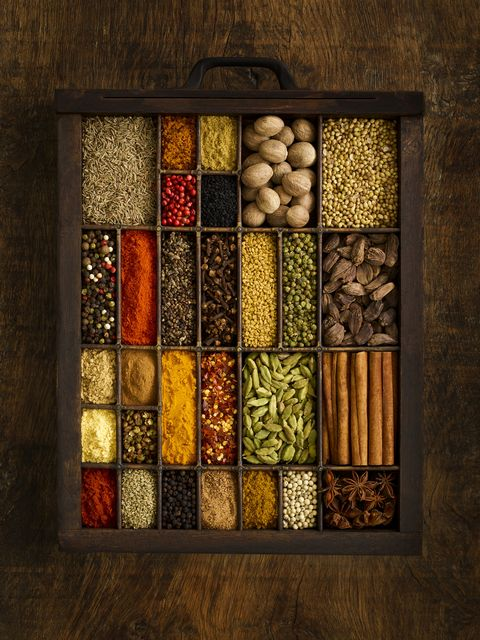selection of dried spices in drawer