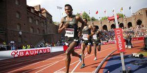 Selemon Barega durante los 5.000m del Meeting de Estocolmo de la Liga de Diamante 2019.