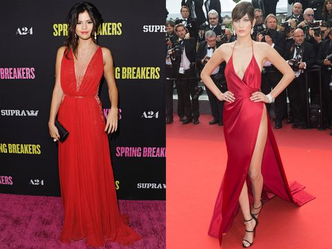 Clothing, Dress, Flooring, Event, Shoulder, Red, Carpet, Outerwear, Formal wear, Style,