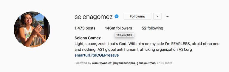 Followers Selena Gomez