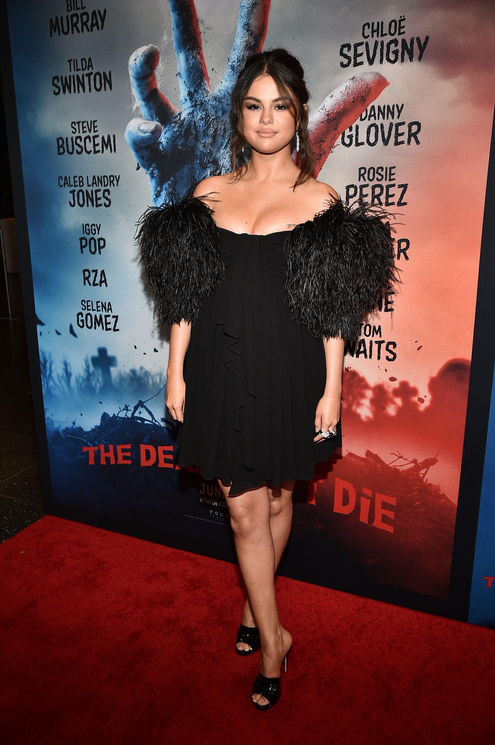 Selena Gomez Wears a Feathered Celine Dress and Silk Pajama Set