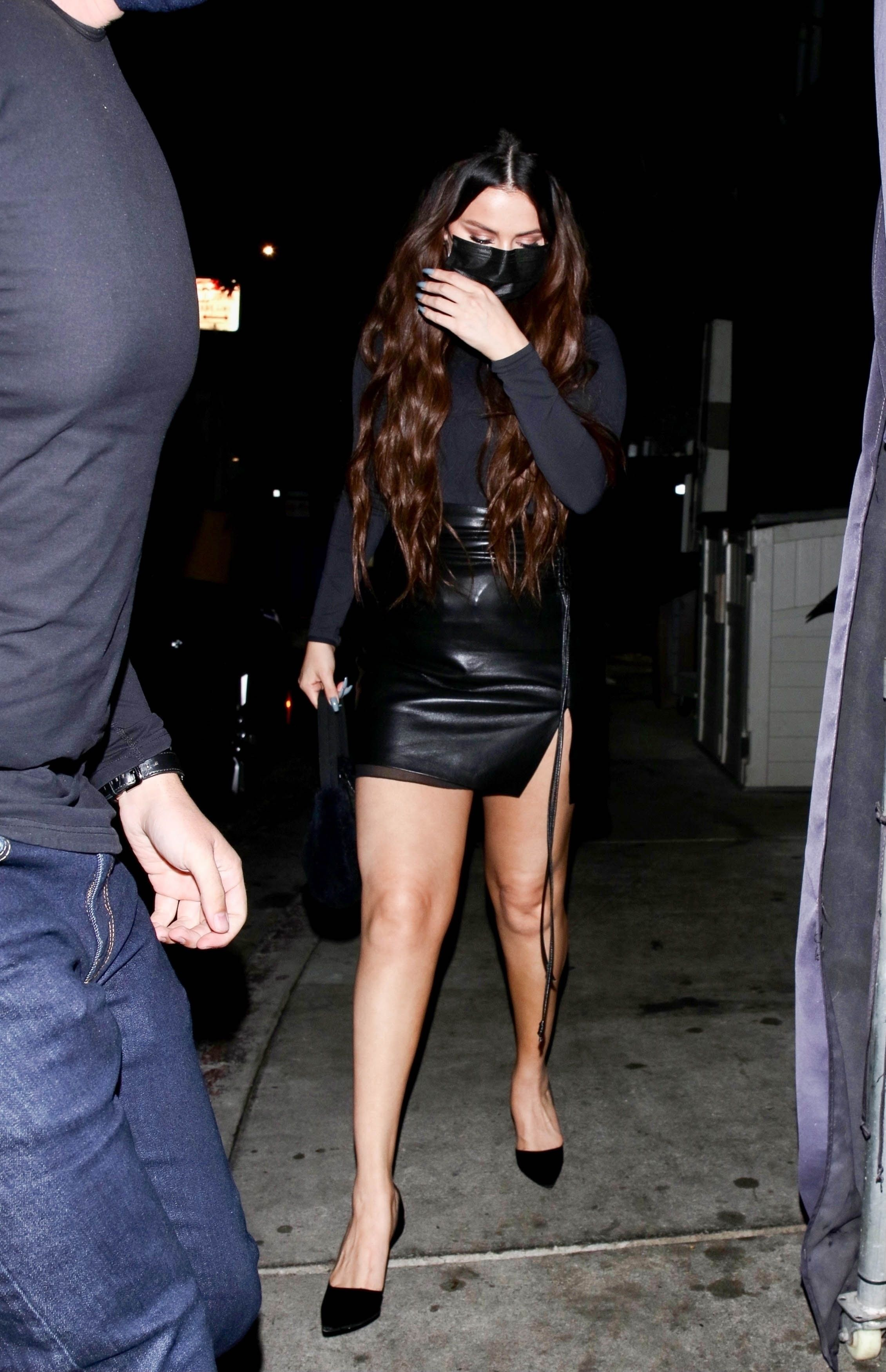 Selena Gomez Went Out in a Leather Mini Skirt With a Leg Slit