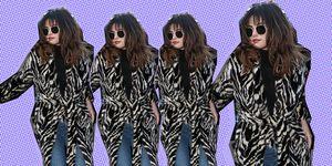 Selena Gomez in faux fur coat