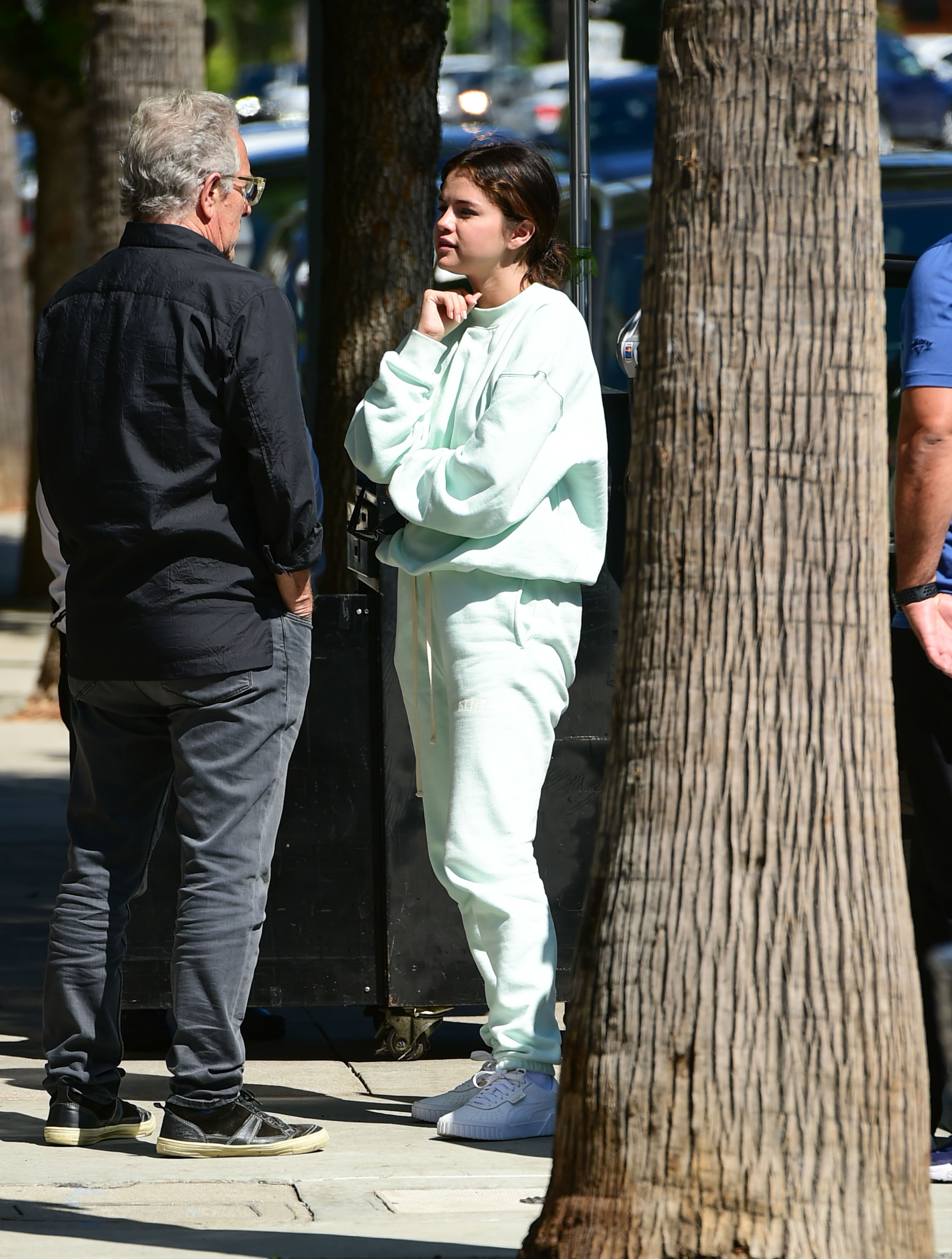 Selena Gomez Wore Casual Baby Blue Sweats While Lunching in L.A.