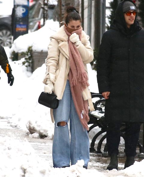selena gomez out walking in the snow