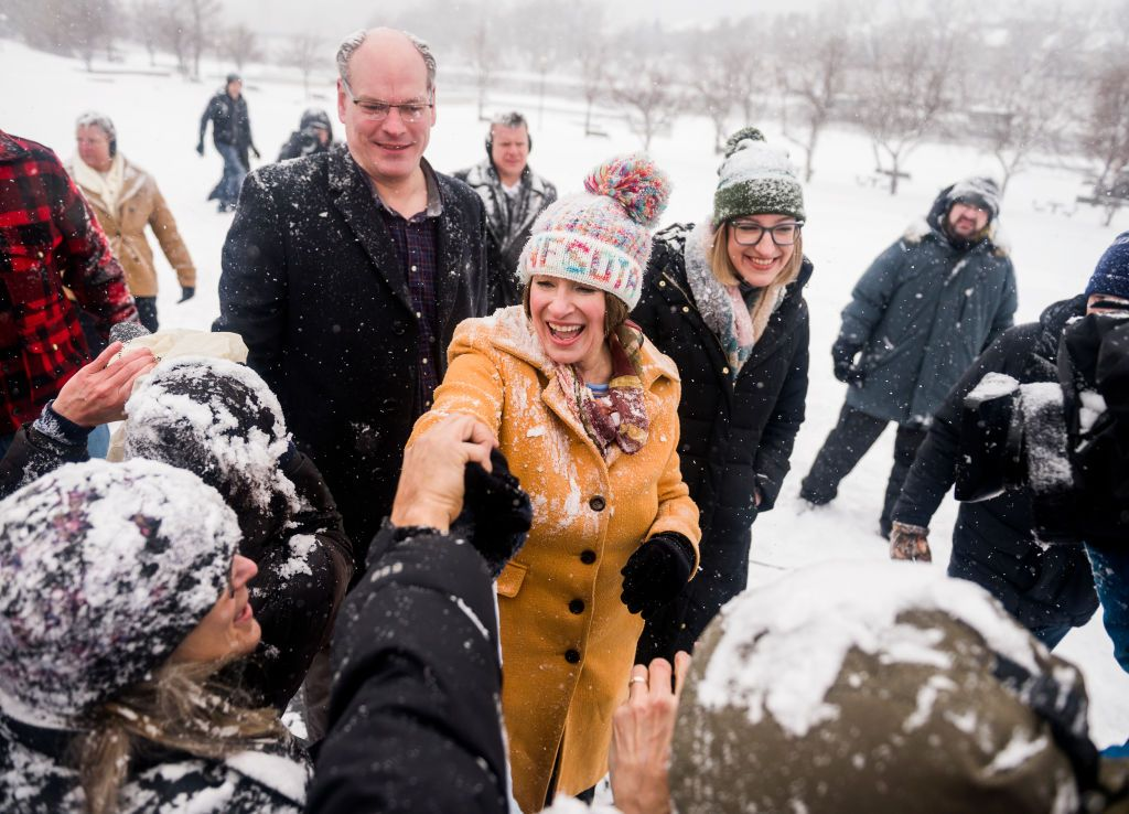 John, Amy, and Abigail at Amy's candidacy announcement in February 2019, which took place in snowy Minneapolis, Minnesota.