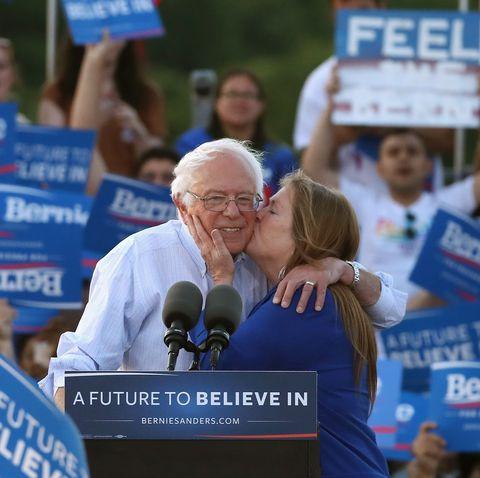 Bernie Sanders met aardige, vrouw Jane O'Meara Driscoll
