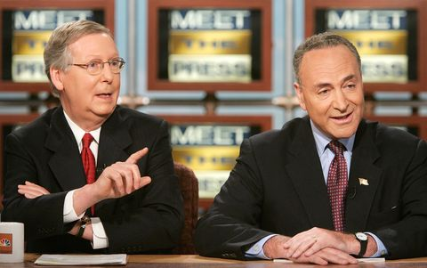 """washington   july 02  us senate majority whip sen mitch mcconnell r ky l speaks as chairman of democratic senatorial campaign committee sen charles schumer d ny r listens during a taping of """"meet the press"""" at the nbc studios july 2, 2006 in washington, dc mcconnell and schumer discussed various topics including the war on terrorism and the mid term elections in 2006  photo by alex wonggetty images for meet the press"""