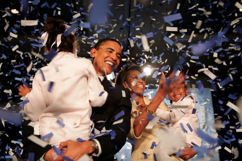 chicago   november 2 candidate for the us senate barack obama d il and his daughter malia l, wife michelle and youngest daughter sasha r celebrate his victory with supporters over repulican rival alan keyes november 2, 2004 in chicago, illinois obama was expected to easily defeat keyes in this first ever senate race featuring two major party african american candidates photo by scott olsongetty images