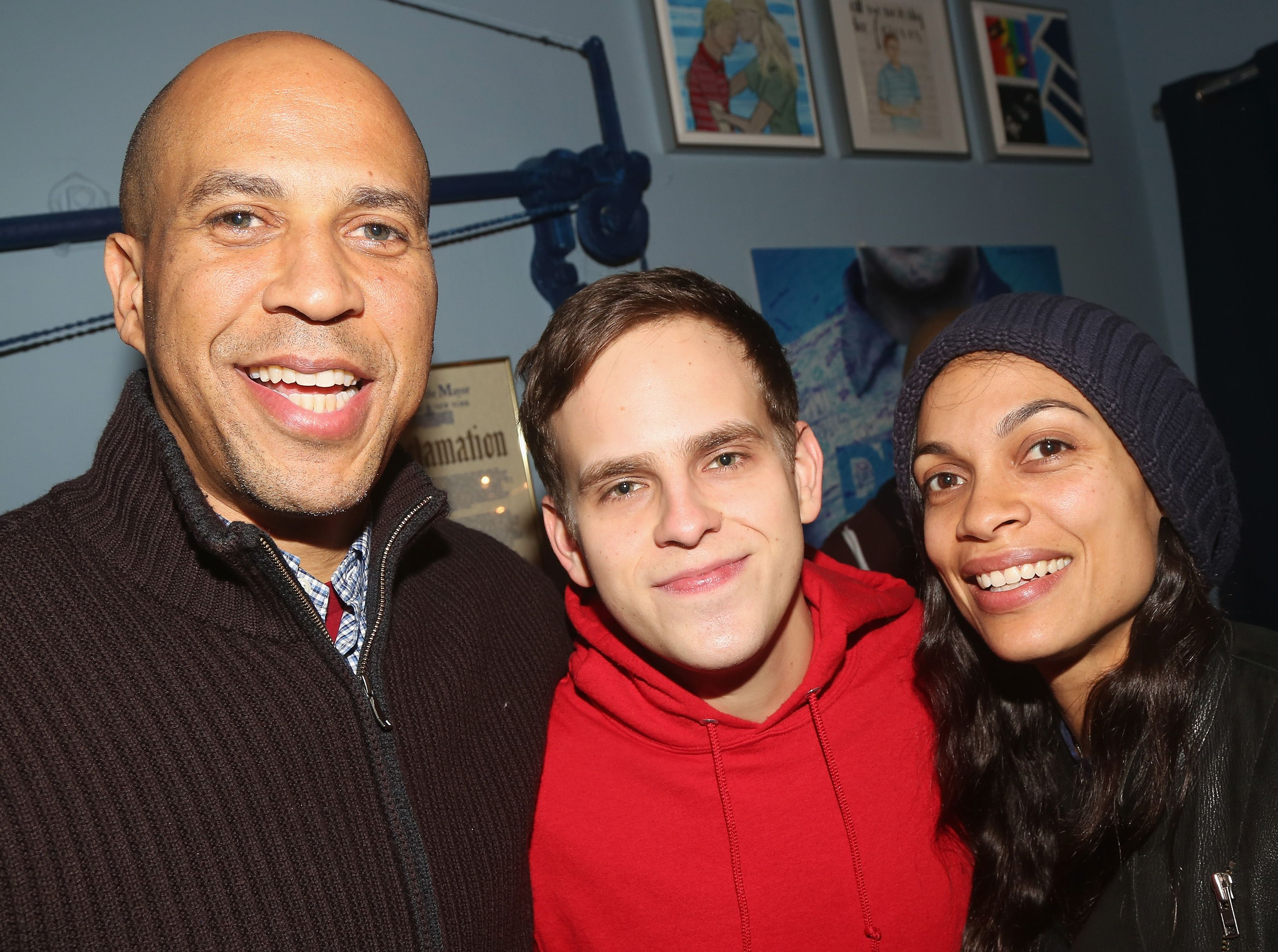 "Senator Cory Booker and Rosario Dawson with Taylor Trensch backstage at the Broadway musical ""Dear Evan Hansen"" in January of 2019."