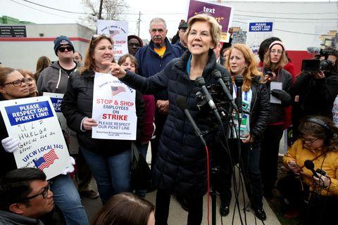 Senator Elizabeth Warren Joins Striking Stop & Shop Workers