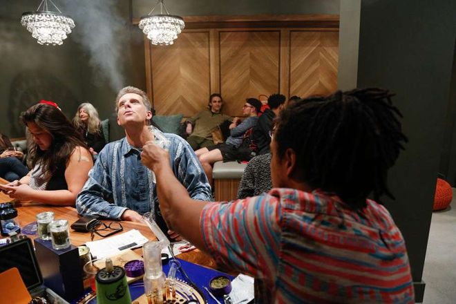 Mark Cunningham blows out vapor at Harvest in Bernal Heights.