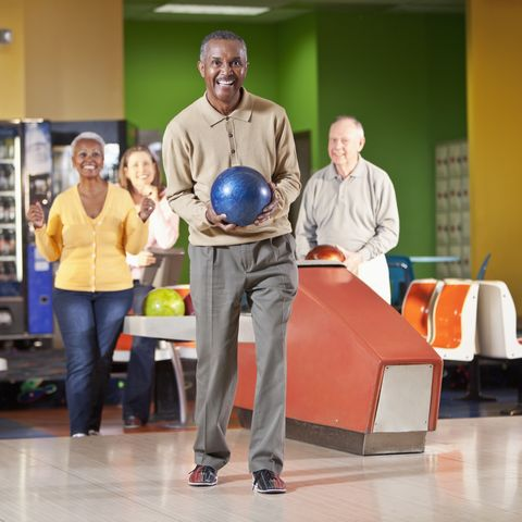 winter date ideas - Senior man bowling