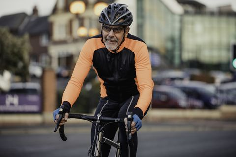A Senior Man on His Racing Bike