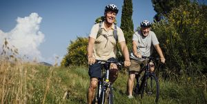 Senior Men on Mountain Bikes in the Countryside
