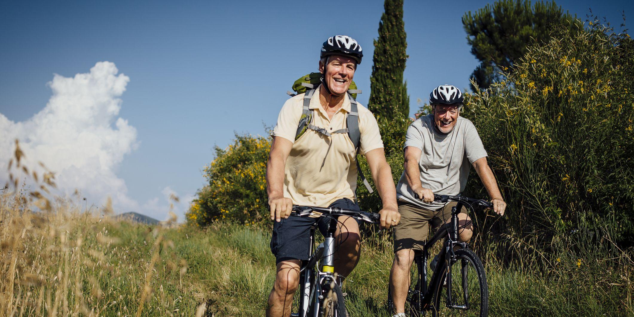 Senior Men on Mountain Bikes in the Countryside
