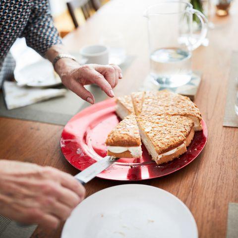 woman serving cake, restaurants open on christmas