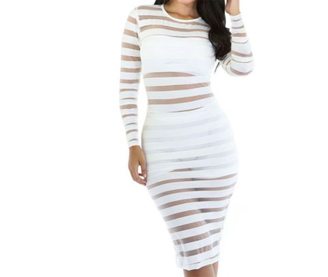 Clothing, White, Neck, Shoulder, Sleeve, Dress, Waist, Beige, Joint, Day dress,