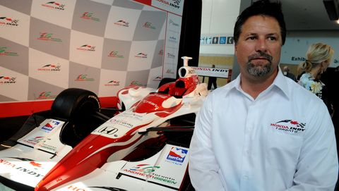 sept 18 2008 pics of  michael andretti with car michael andretti and co at presser to announce de